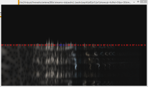 Audio spectrum of a fragment of a song for soprano and piano, with turntable rumble visible in the lower frequencies